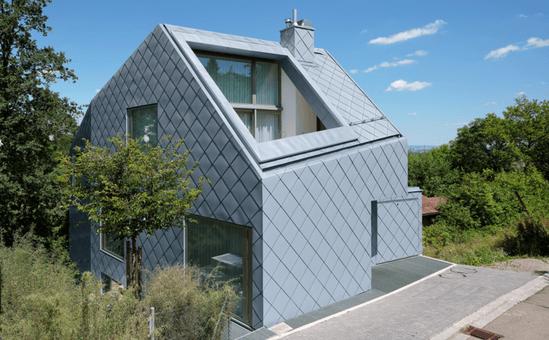 Zinc Square Tile Cladding Gives Home Diamond Effect Rheinzink Esi Building Design