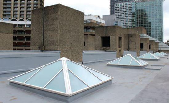 Em-Glaze bespoke rooflights for the Barbican Centre
