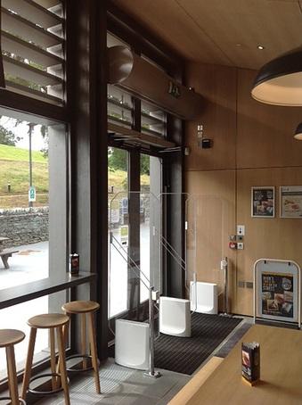 Air curtains, University of Cumbria cafe