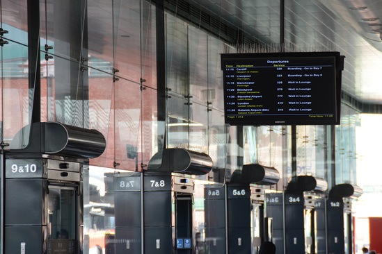 Energy efficient air curtains at coach station