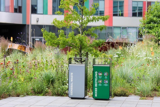 Litter and recycling bins for university campus