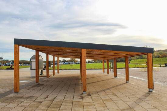Bespoke canopy shelter clad in Scottish larch