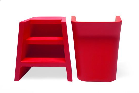 Upgrade recyclable plastic seating with integral steps
