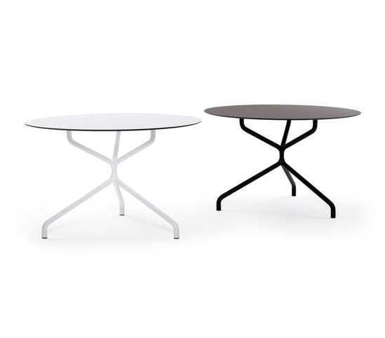 Ribaltone steel-framed tables with round HPL tops
