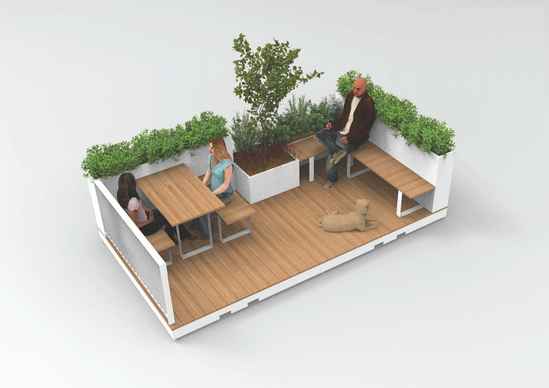 Parklet modules for public spaces