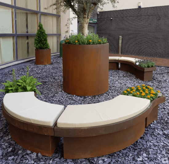 Lightweight GRP seating with waterproof fabric cushions