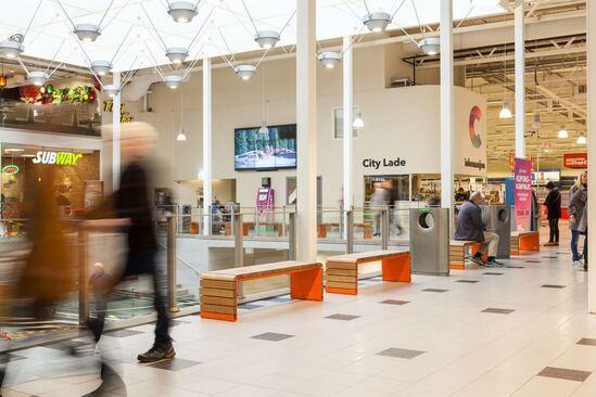 MOVE contemporary benches in shopping centre