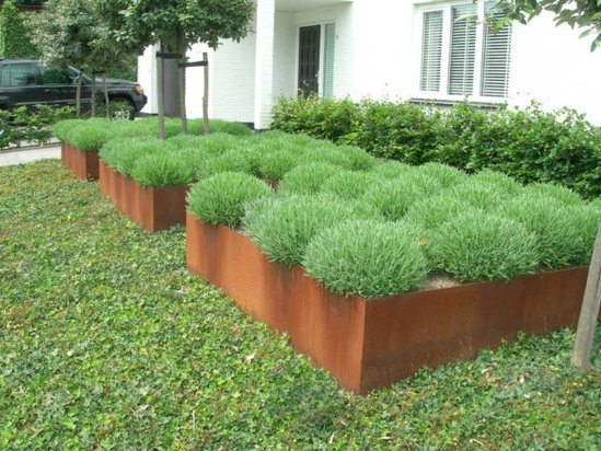 Corten Steel Andes Low Cube Planter Pot Company Esi