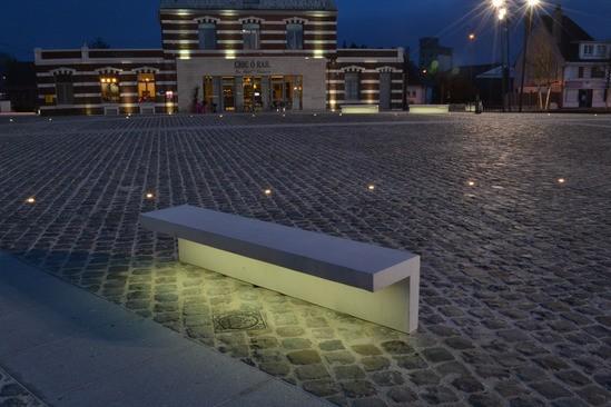 Led Light Bench : Led line concrete bench with integral strip lighting