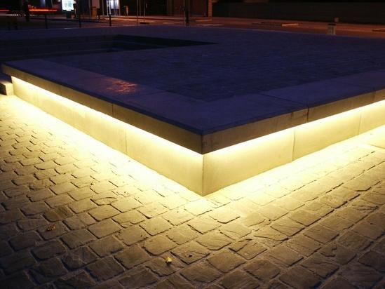Led Light Bench : Bespoke led concrete benches balgerhoeke village square