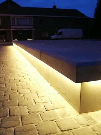 Bespoke Led Concrete Benches Balgerhoeke Village Square