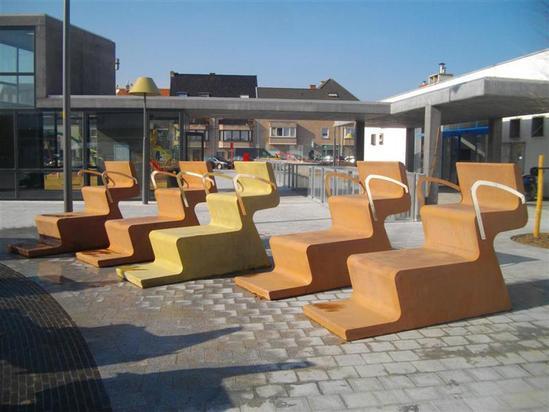 Bespoke Concrete Furniture Middelkerke Village Square Urbastyle Esi External Works