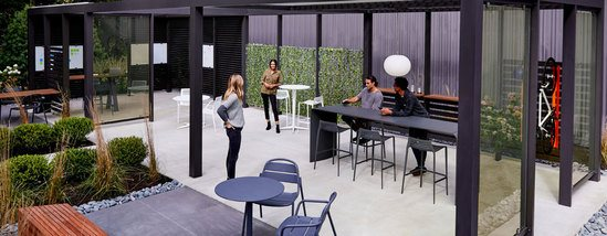 Upfit adaptive outdoor canopy structure