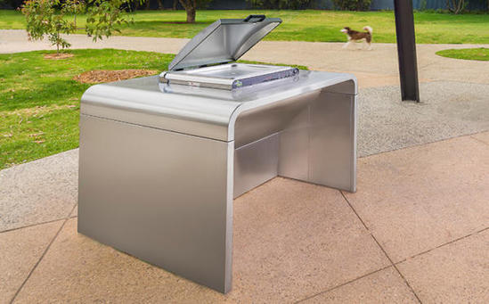 A-Series single bench public barbecue by Christie