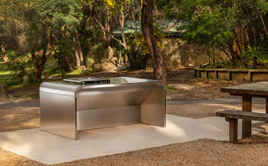A-Series Double Bench accessible barbecue by Christie