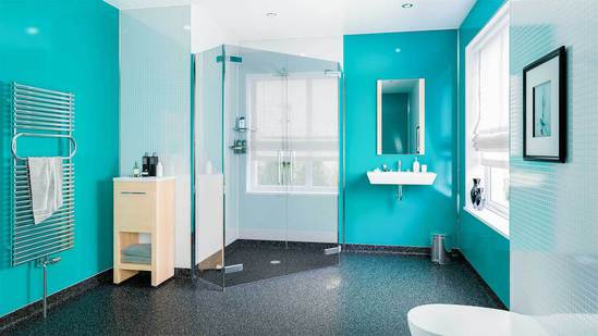 Waterproof WetFlor™ Cosmo flooring in wet room