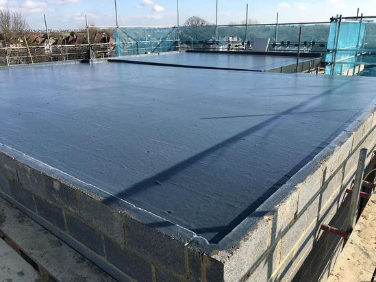 Fibreglass flat roof treatment