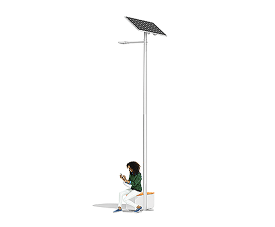 Street light with USB port and seating