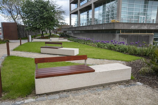 Monia bench with white exposed concrete finish