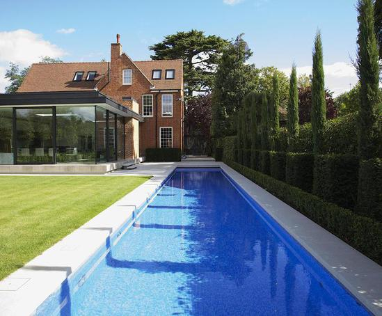 Luxury outdoor lap pool, private client, London | Guncast ...