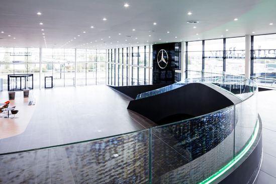 Bespoke balustrade with LED uplights, Mercedes Dartford