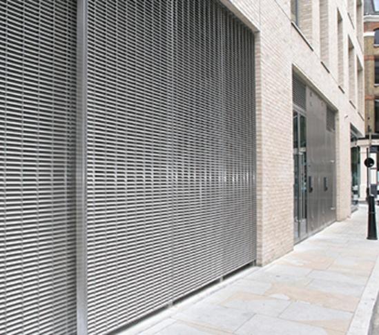 Stainless steel louvred cladding: Spitalfields, London