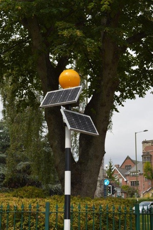 Belisha beacon fitted with an extra solar panel