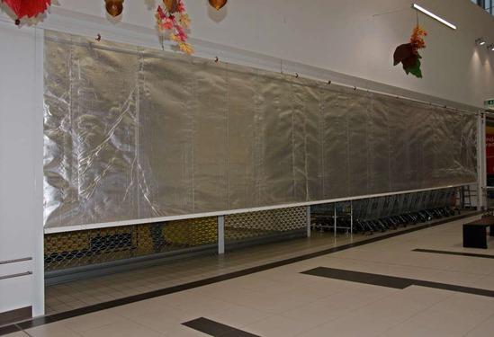Fibreroll E120 rolling fire curtain, retail application
