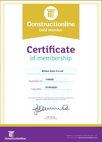 Bolton Gate confirm Constructionline Gold accreditation