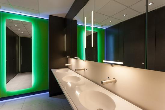 Vanity units, splashbacks and feature wall