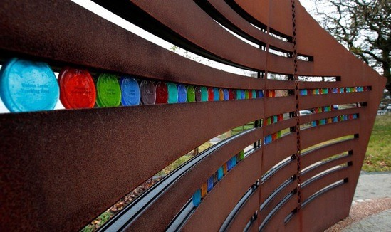 Coloured glass discs representing miners