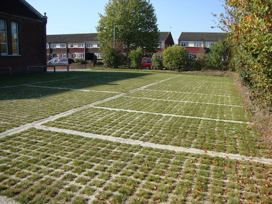 Grasscrete car park installation with bay markers