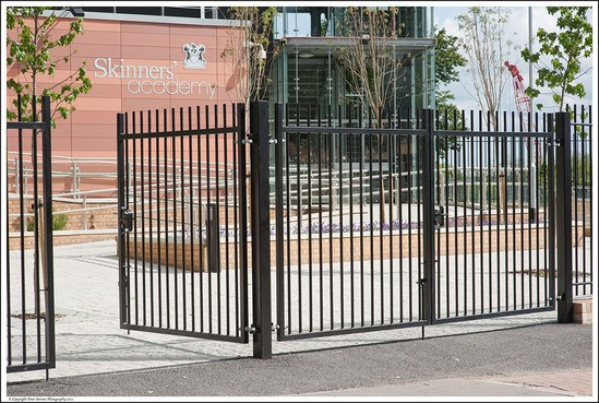 Balustrade tubular steel swing gates procter contracts