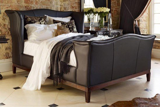Churchill upholstered bed in leather