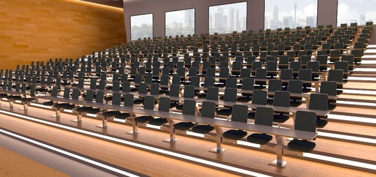 Inova lecture theatre seating mounted on movable arm