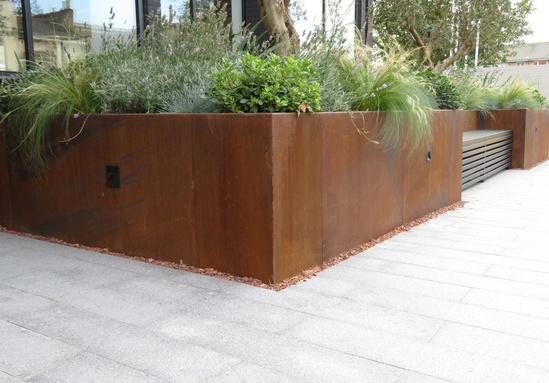 Rustic-looking corten steel planter - bespoke size