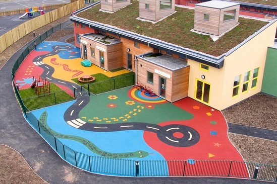Wet pour surfacing - primary school, Wales