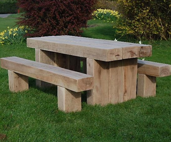 cranham oak railway sleeper bench and table branson. Black Bedroom Furniture Sets. Home Design Ideas