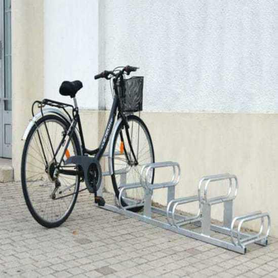 6 space high low steel cycle rack