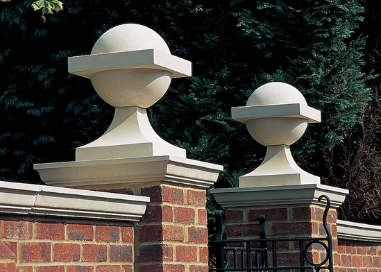 Vanbrugh Ball cast stone finial and base