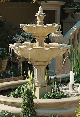 Cast stone Double Lotus Fountain | Haddonstone | ESI ...