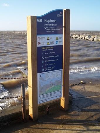 Water safety sign along Kent's coastline