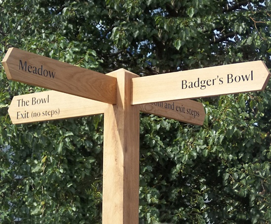 Oak fingerpost with four directional arms