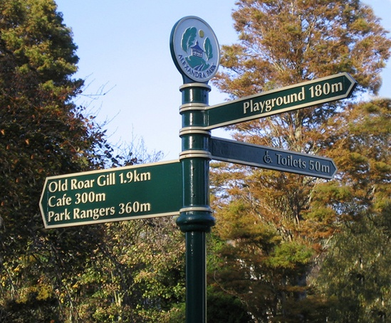 Traditional fingerpost with custom cast finial