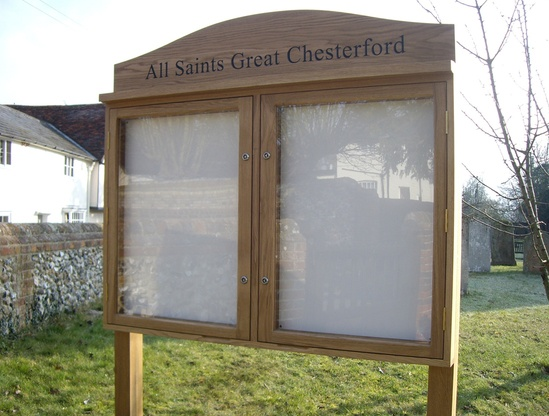 Oak parish noticeboard with magnetic backboard