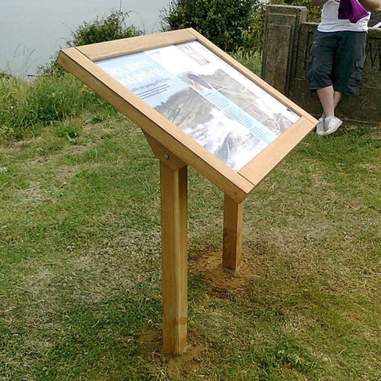Timber lectern display on river bank