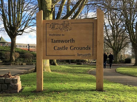 Castle grounds park oak welcome sign