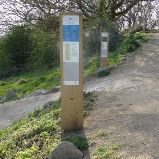 Directional wooden post for mountain bike areas