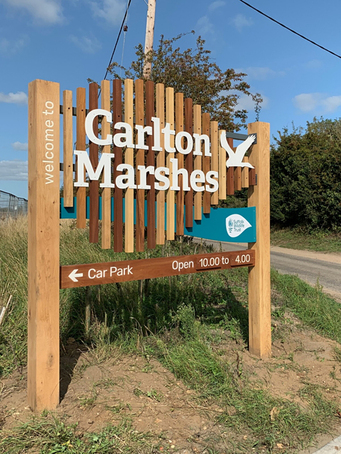 Branded welcome sign - Carlton Marshes