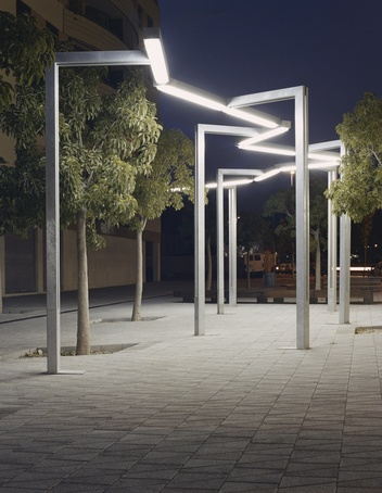 Multifunctional streetlamp with simple geometric lines